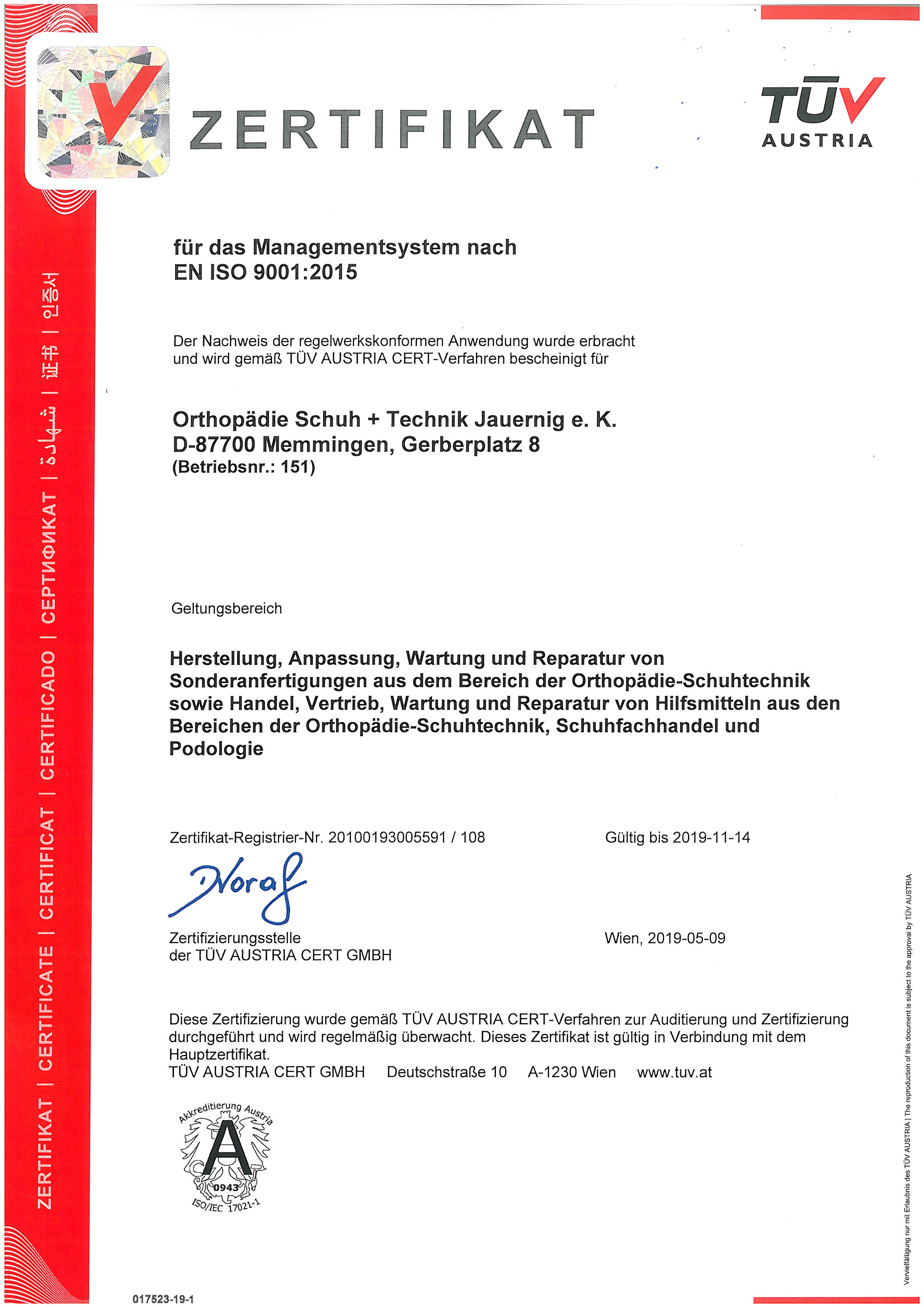 OM Zertifikat